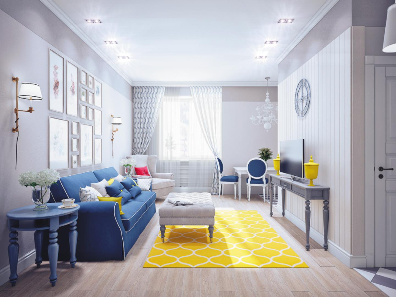 Blue white yellow living room | Home Decorating | Pinterest | Living ...