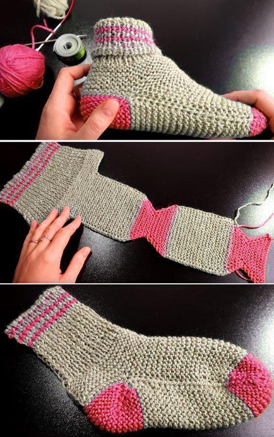 Two Needle Socks - Free Knitting Pattern  #cardigans