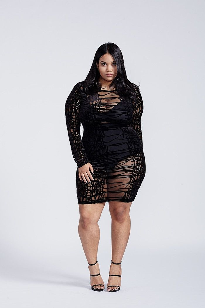 Venomous Black Mesh Mini Long Sleeve Velvet Bodycon Dress Plus Size