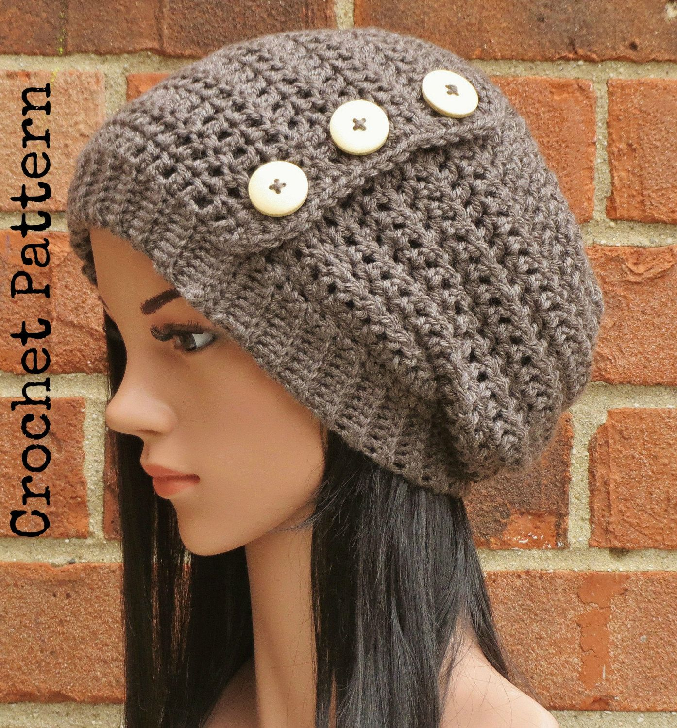 CROCHET HAT PATTERN Instant Pdf Download - Hadley Slouchy Button ...