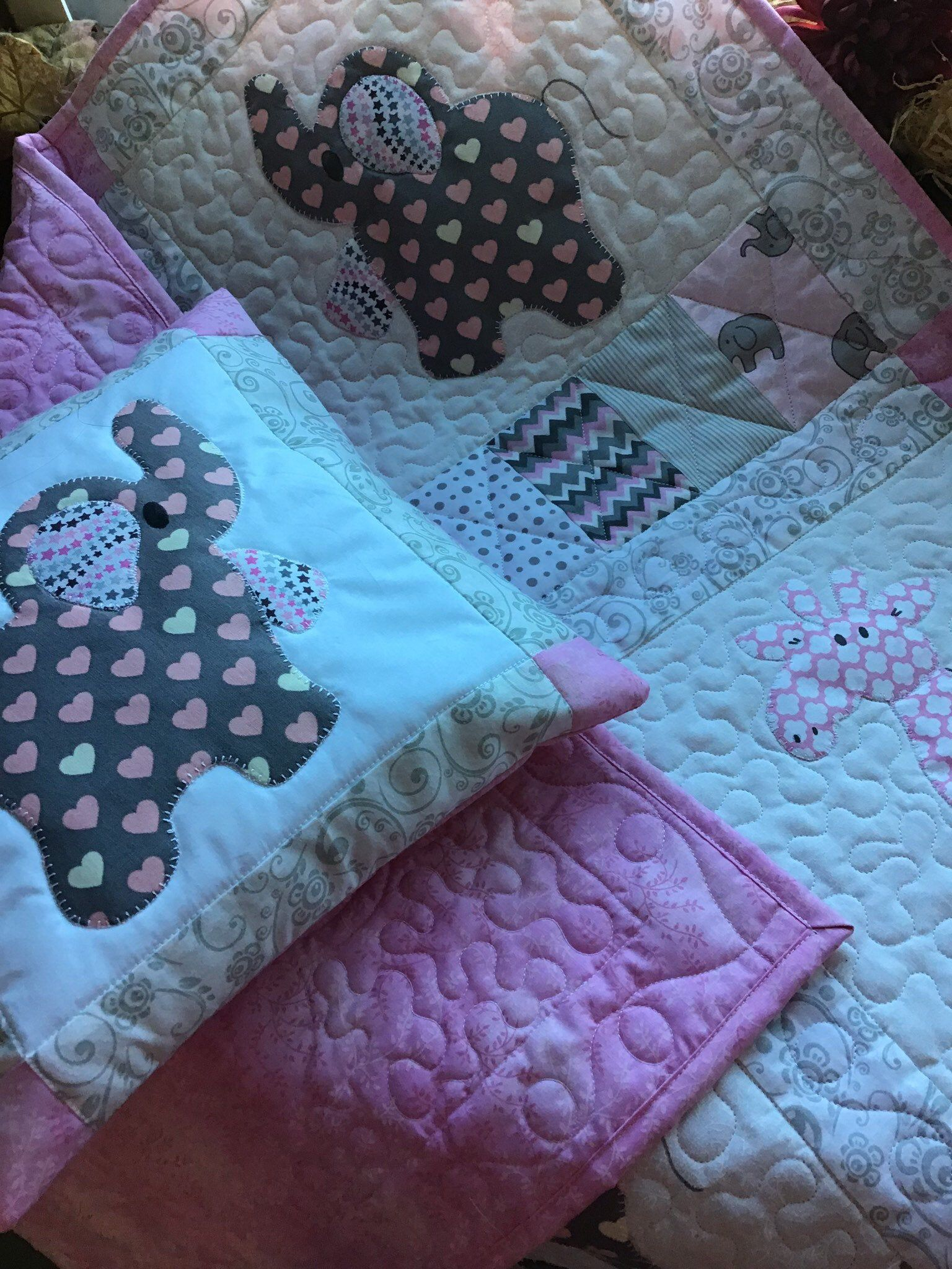 baby quilt toddler nap blanket kitten appliqued quilt for children crib size cuddle quilt