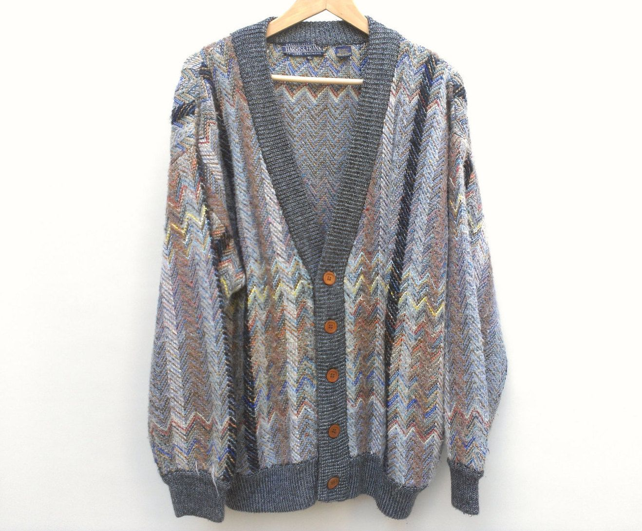 vintage 80s textured chevron pattern cardigan with Wood Buttons - XL. $35.00, via Etsy.