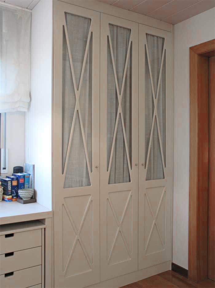 Armario ropero puertas en aspa y visillo basora - Armario dormitorio blanco ...