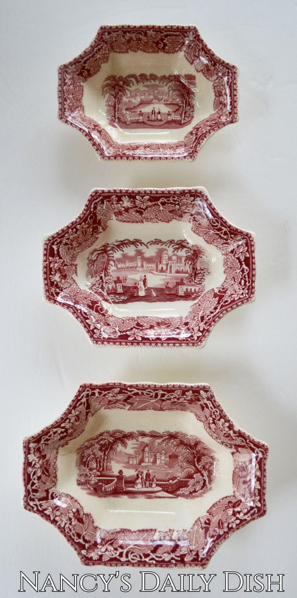 Set of 3 Graduated Sizes Red Toile Transferware Masons Vista 8 Sided Trinket Candy Dish or Relish Bowl & Set of 3 Graduated Sizes Red Toile Transferware Masons Vista 8 Sided ...