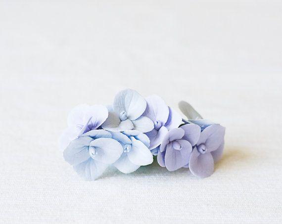 Wedding hair barrette - flower barrette - bridal barrette - hydrangea, lilac, blue - hair accessories - french barrette - floral headpiece