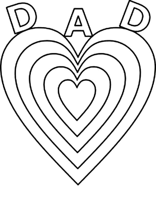 Fathersu0027 Day,  Big Love for Daddy on Fathers Day Coloring Page - new love heart coloring pages to print