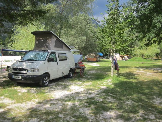 A camping site in the valley of the Soča river. Nature at it's best!