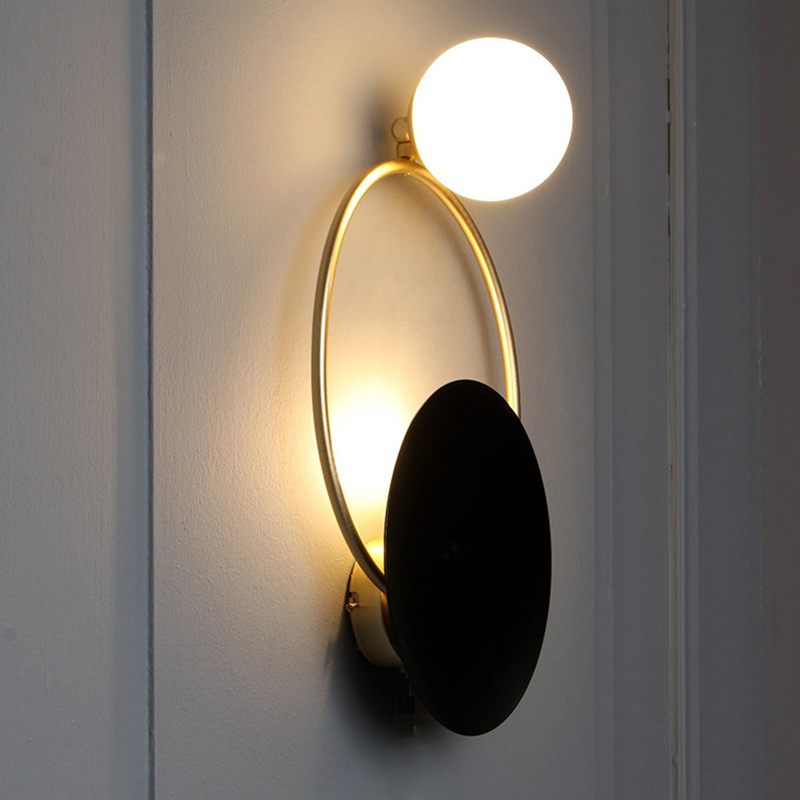 Black And Gold Finish Modern Led Wall Light With Ring Circle And Glass Shade Wall Lights With Images Wall Lamp Wall Lights Led Wall Lights