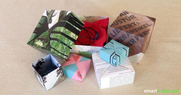 so kannst du kreative geschenkverpackungen und aufbewahrungsboxen aus papier ganz einfach selber. Black Bedroom Furniture Sets. Home Design Ideas