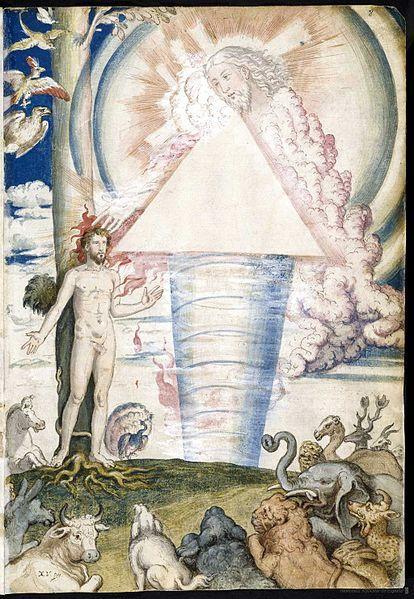 Francisco de Holanda Illustration of the creation of man in De imagine Mundi Aetatibus, Madrid, National Library of Spain around 1553-1573.