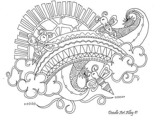 Sunshine Rainbow With Clouds Coloring Page Insect Coloring