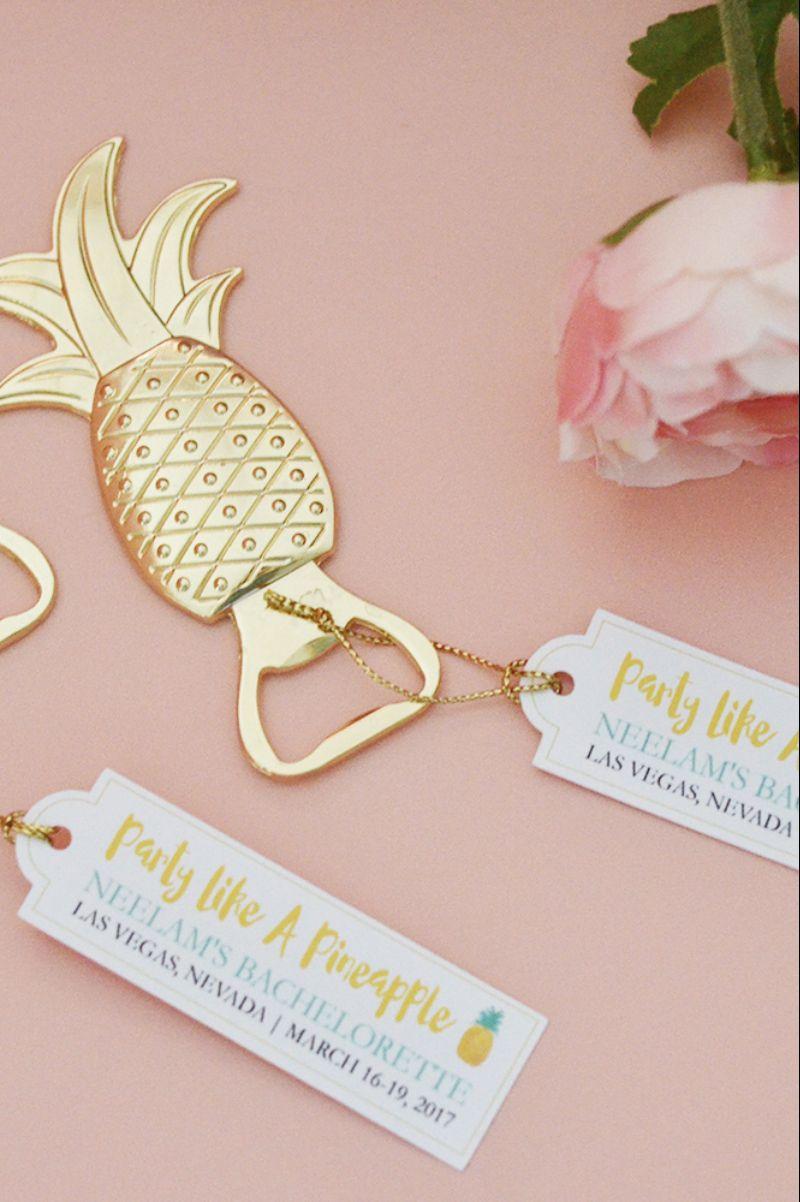 Pineapple Bottle Opener Favor (Gold) | Gold wedding favors, Favors ...