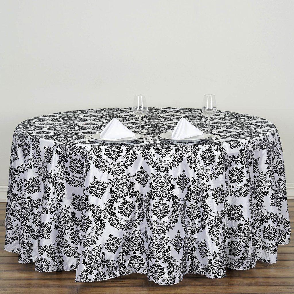 120 Black Round Velvet Flocking Design Taffeta Damask Tablecloth Damask Tablecloth Black And White Tablecloth Wedding Table Linens