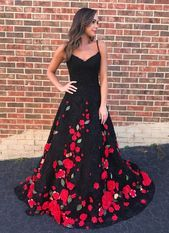 Gorgeous black flower lace long customize prom dress black evening dress D387 2020  kleid schwarz gold schwarz für schwangere schwarz schwarz lang abendkleider schwa...