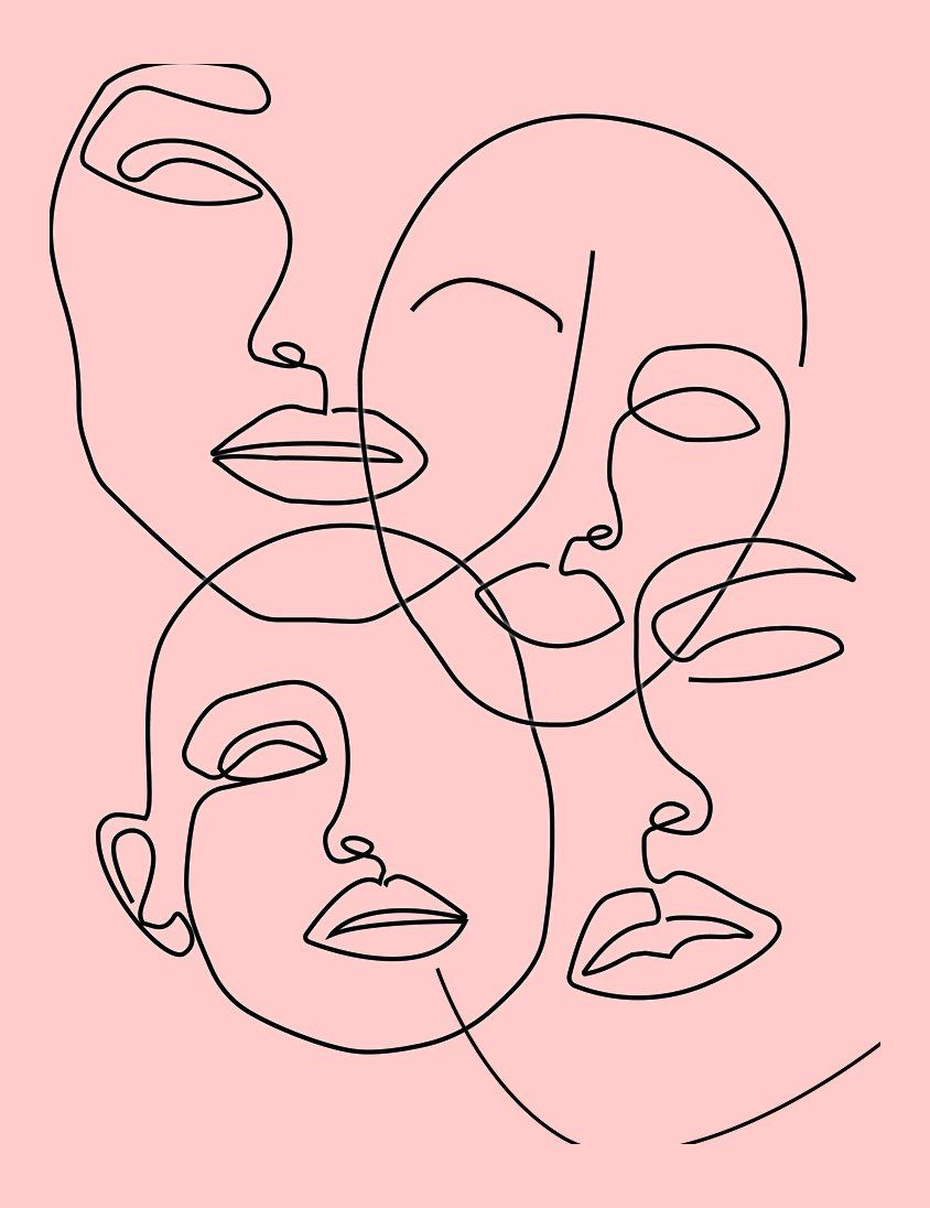 Abstract carnival face printable one line child like