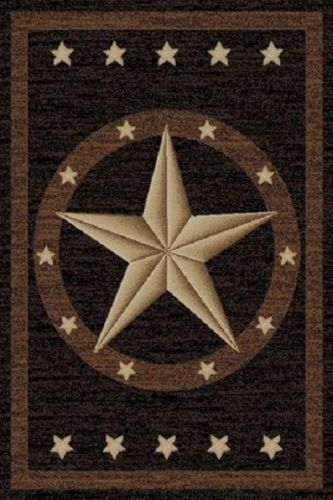 8x10 Texas Western Star Rustic Cowboy Black Brown Area Rug