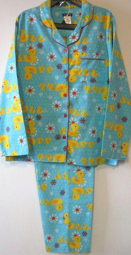 Joe Boxer Winter Flannel Rubber Ducks Pajamas Womens S M L
