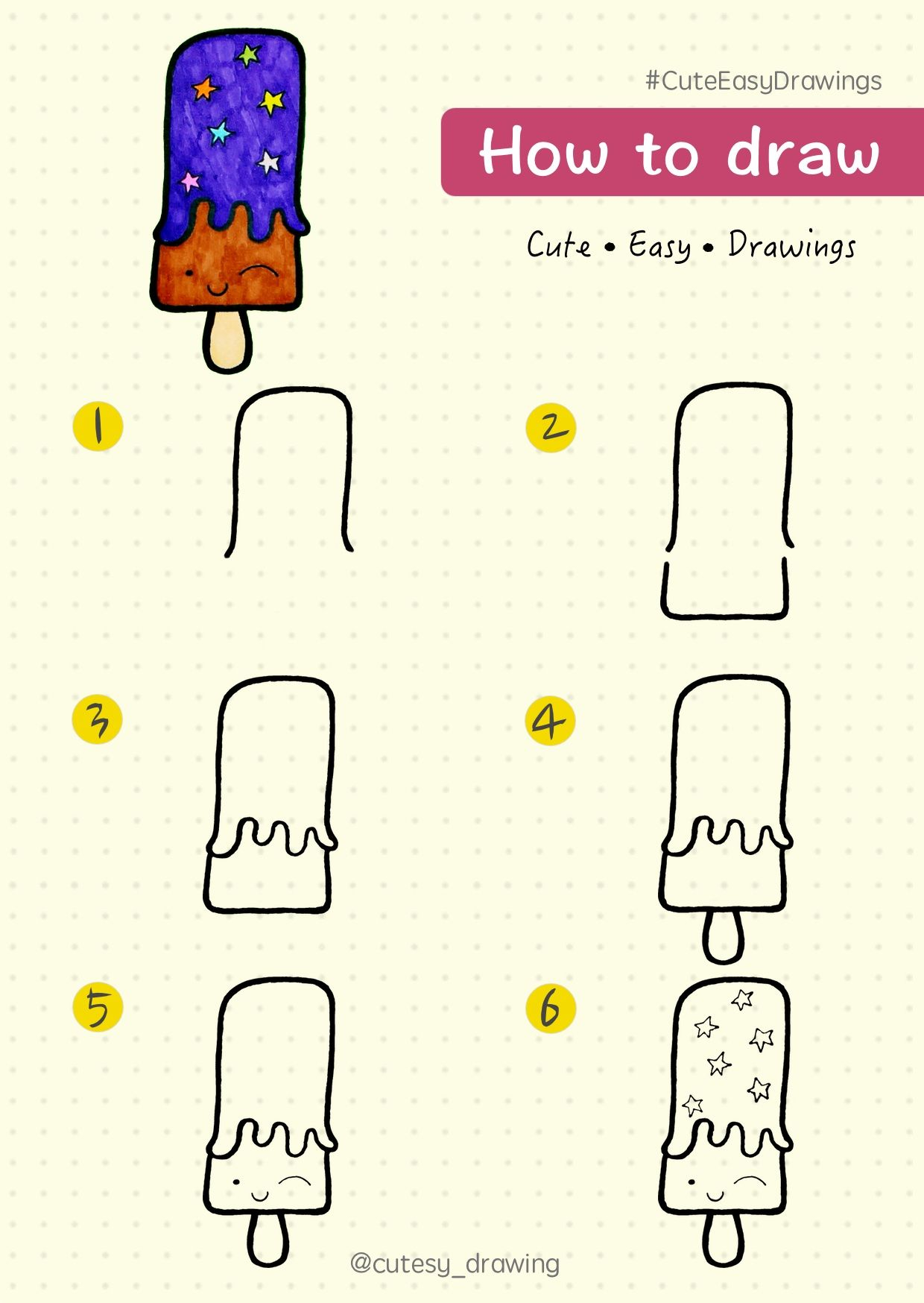 How to draw popsicle ice-cream : step by step tutorial. # ...
