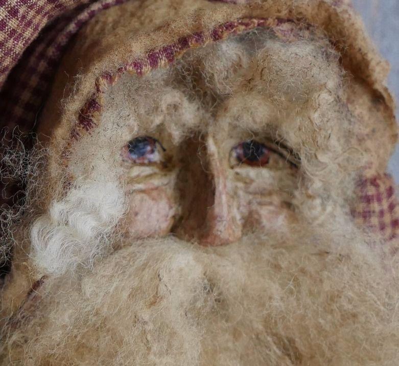"Alta's Heirlooms OOAK Primitive Antique Looking Santa w/ Crazy Quilt Vest 22"""