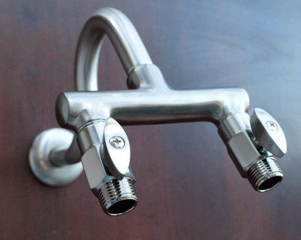 Shower Head Double Outlet Brushed Nickel Manifold W Shut Off