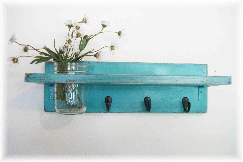 Beach Retro Mod Turquoise Color Primitive Shelf Black Hooks by ...