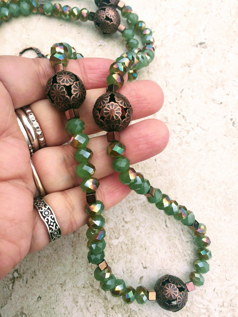 Green Crystal And Copper Long Necklace Earrings Set