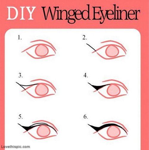 Breaking it down- step by step tutorial on winged eyeliner. Practice makes perfect. ;)