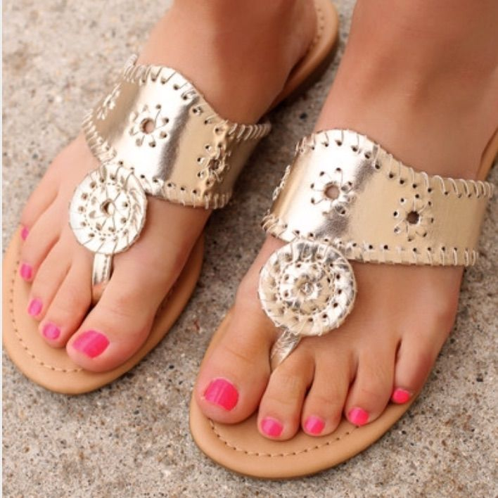 605139cae53e80 Jack Rogers Hamptons Sandals In Platinum