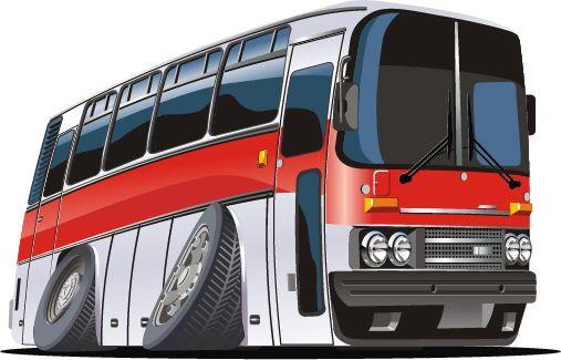 Funny Cartoon Bus Vector Set 04