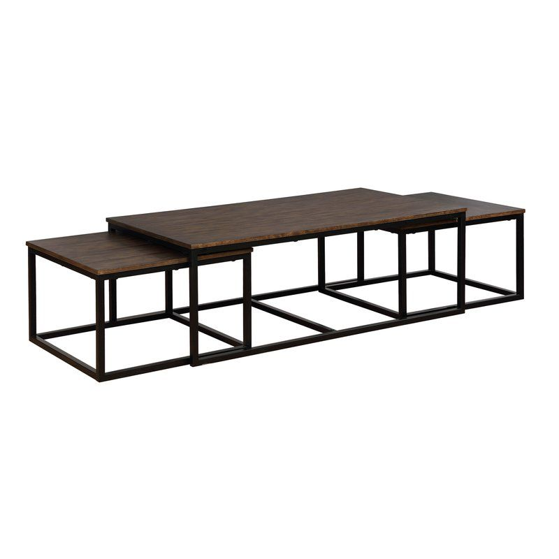 Hensley 3 Piece Coffee Table And Nesting Tables Set Nesting Coffee Tables Rectangle Coffee Table Wood Nesting Tables