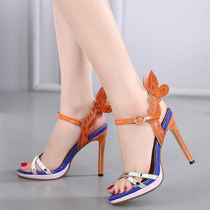 2e5552a91800 Dresswe.com SUPPLIES Open Toe Black Butterfly Women s Heel Sandals High  Heel Sandals