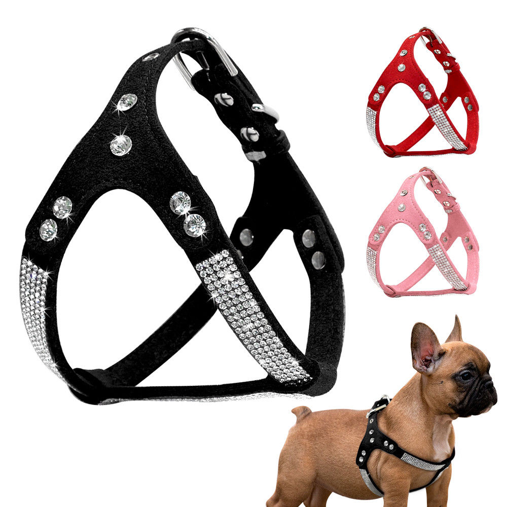 Step In Rhinestone Studded Dog Harness Soft Suede For Pet Puppy