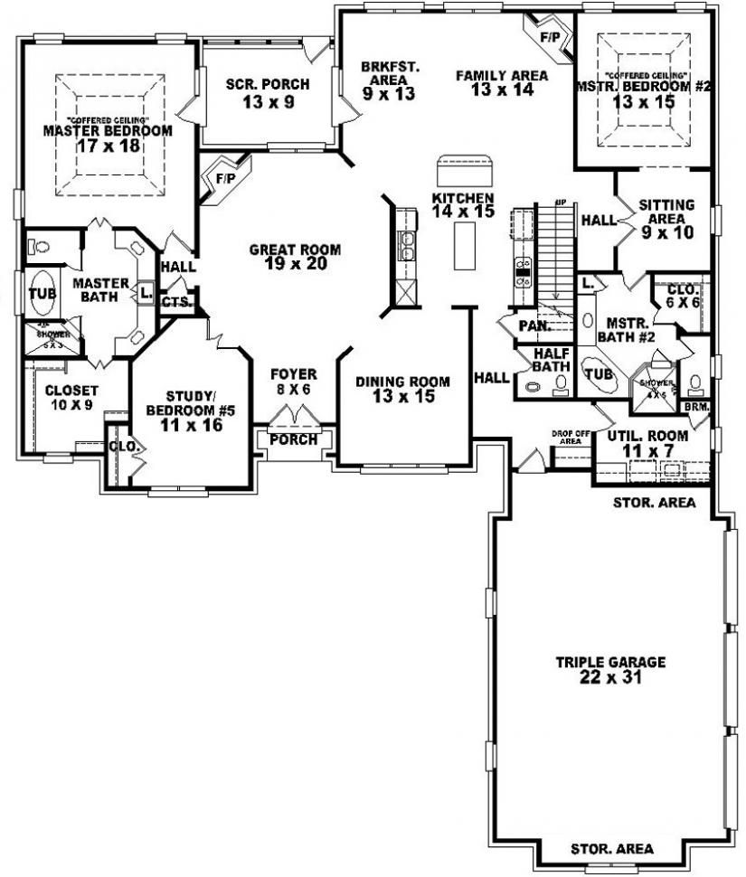 654269 4 Bedroom 3 5 Bath Traditional House Plan With Two 2 Master Suites House Plans Floor P Bedroom Floor Plans Guest House Plans 5 Bedroom House Plans