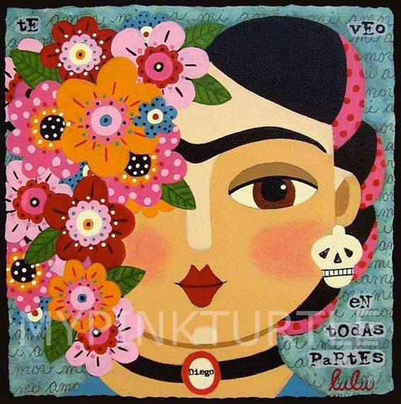 Frida Kahlo With Flowers Skull And Diego Print By LuLu Mypinkturtle