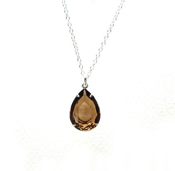 Earthy Silver Brown Necklace Vintage Glass Jewel by ZhivanaDesigns, $35.00
