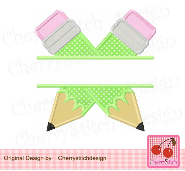 Split Pencils, Two Pencils design,School Digital Applique SCH022 -4x4 5x5 6x6 inch-Machine Embroidery Applique Design by CherryStitchDesign on Etsy