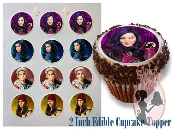 Disney Descendants Villains party - Edible cupcake topper ...
