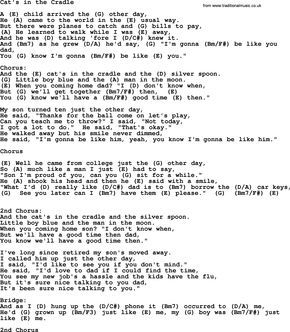 Johnny Cash Song Cat S In The Cradle Lyrics And Chords Lyrics And Chords Cash Song Cats Cradle