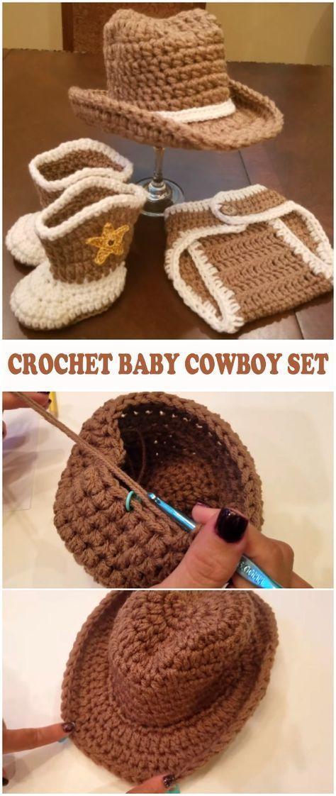 Crochet Baby Cowboy Set - Free Pattern [Video] | Crochet | Pinterest ...