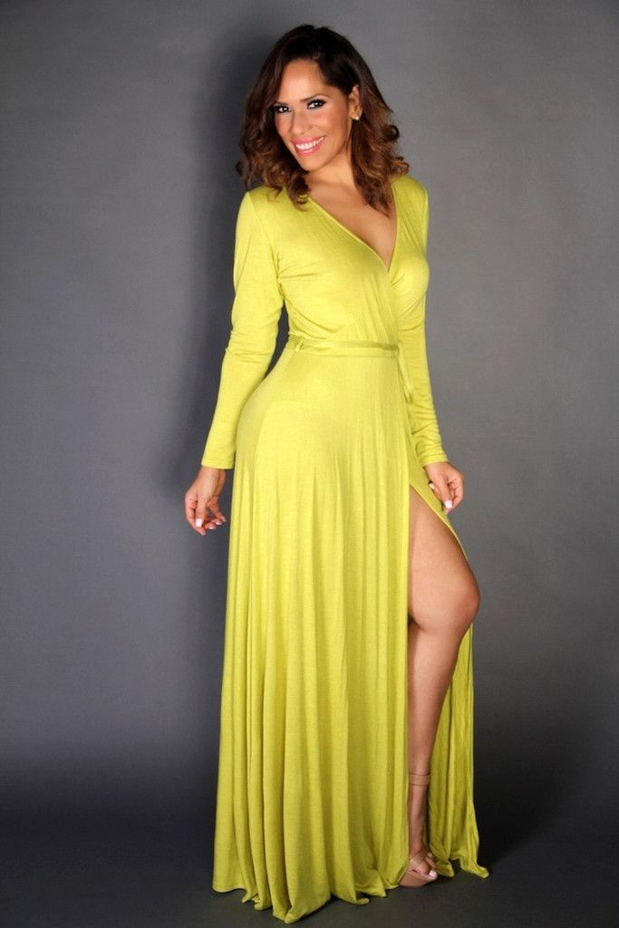 09e81b3b28 Lime V-Neck Long Sleeves Maxi Dress W  Slit and Waist Tie