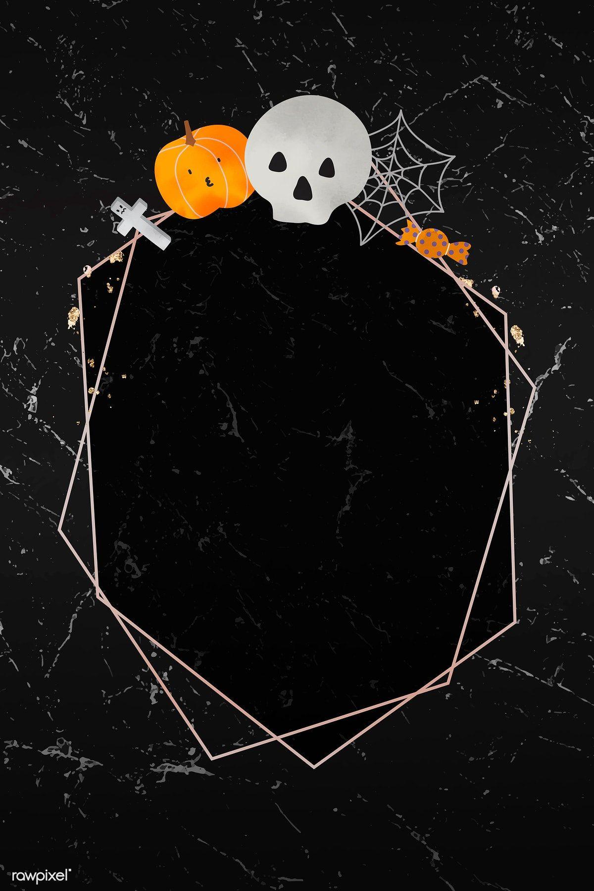 Download premium vector of Halloween gold frame on black background vector