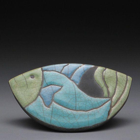 Fish Handmade Ceramic Raku Fired Clay Rocking Fish Home Decor Whimsy Ceramic Fish Pottery Animals Raku Pottery