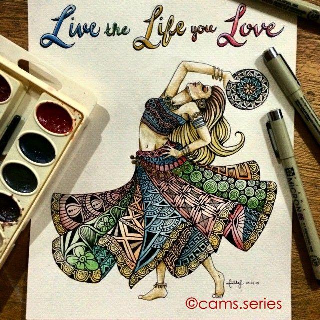 Live the Life you Love.#gypsy #dancerseries #dancer #illustration  #painting  #creative_instaarts #doodle #drawing  #art_boost #artist_4_shoutout #artfido #pyramidarts #artmagazine #art_we_inspire #artiststoexpress #skipy0010 #creativpaper #creativbiro #sketch_daily#instartpics #proartists #artofdrawingg #aartistic_dreamers #zentangleme #featureuniverse  #zentangle #quotestoliveby