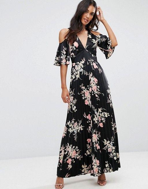 ASOS Cold Shoulder Maxi Dress in Satin Floral Print at asos.com