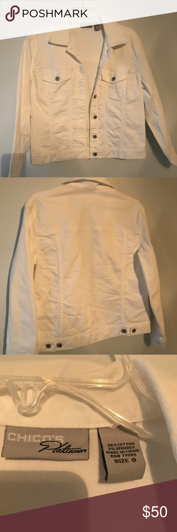 White Denim Jacket White Denim jacket Chico's Jackets & Coats Jean Jackets