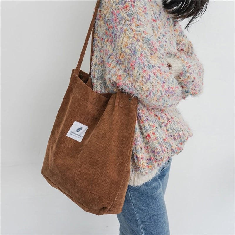 Korean Canvas Handbags Women Corduroy Shoulder Bags Fashion Large Shopping Totes