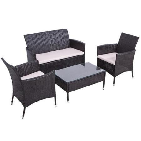 Palm Springs 4pc Rattan Sofa Chair And Table Set Walmart Com Sofa Set Furniture Rattan Sofa