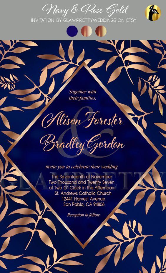 Navy Rose Gold Foil Wedding Invitation Abstract Botanical Etsy Rose Gold Invitations Gold Foil Wedding Invitations Wedding Rose Gold Theme