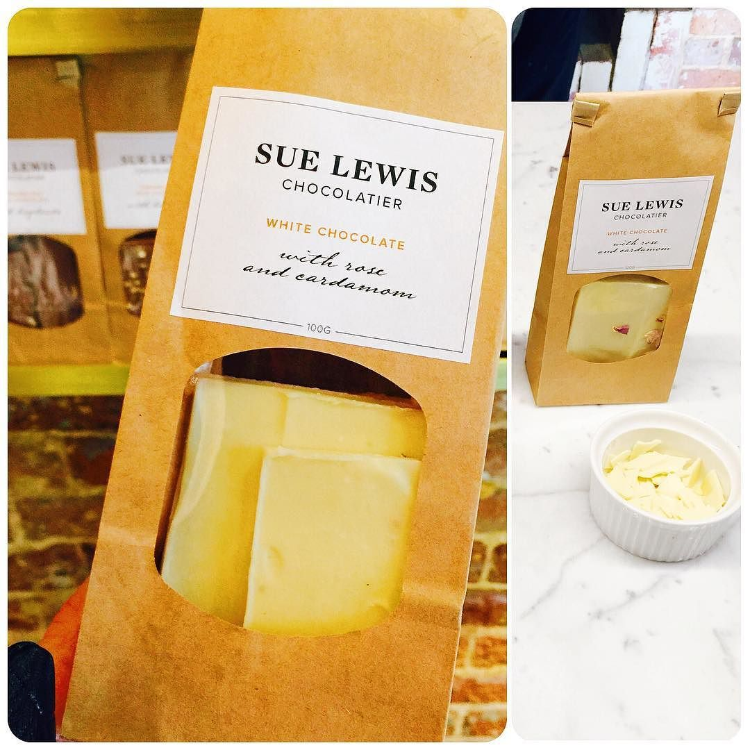 Picked up the handmade white chocolate with rose and cardamom from #suelewischocolatier  // Next time: salted caramel