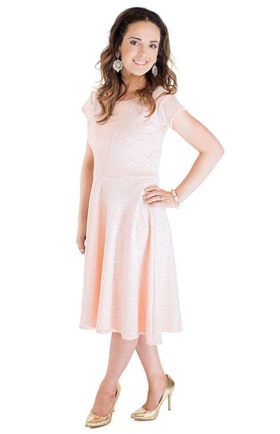 Mariah Modest Lace Dress In Light Peach